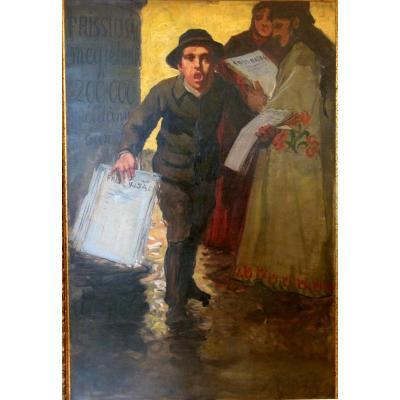 "TABLEAU HONGROIS CIRCA  1905 : ""LE CRIEUR DE JOURNAUX"""