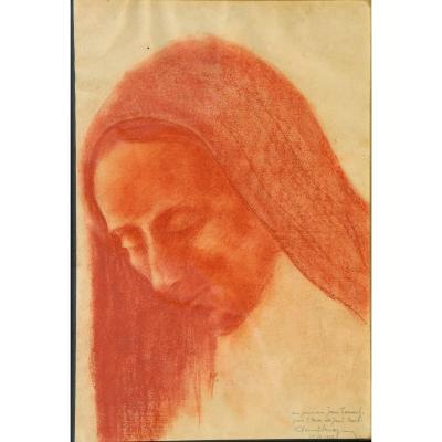 "Paul Breyer : Bloodpencil ""head Of A Virgin Of Pieta"""