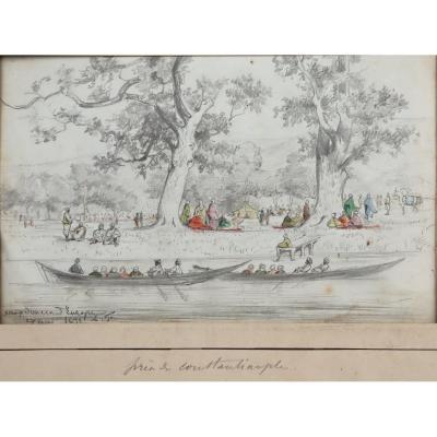 "ACHILLE FOUQUIER (1817-1895 ?) 12 : ""PRES DE CONSTANTINOPLE"""