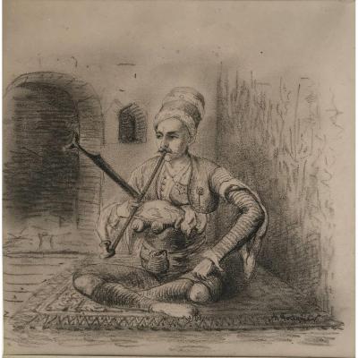 """ACHILLE FOUQUIER (1817-1895 ?) 13 : """"TURC FUMANT LA PIPE"""""""