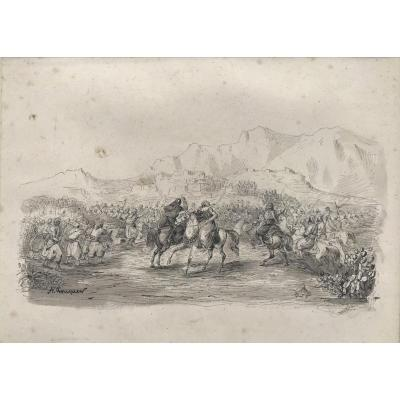 """ACHILLE FOUQUIER (1817-1895 ?) 14 : """"COMBAT DE TURCS ET DE PERSES"""""""