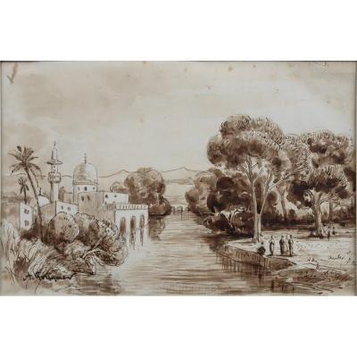 """ACHILLE FOUQUIER (1817-1895 ?) 15 : """"MOSQUEE EN TURQUIE"""""""