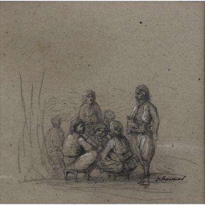 """ACHILLE FOUQUIER (1817-1895 ?) 16 : """"TURCS DISCUTANT"""""""
