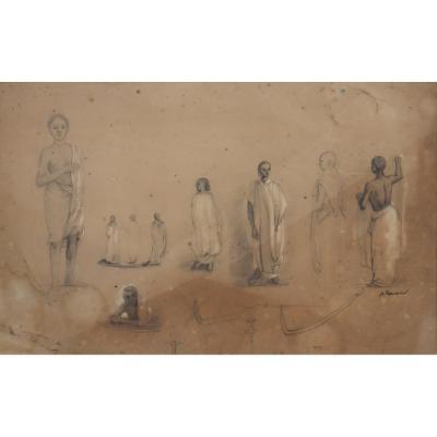 """ACHILLE FOUQUIER (1817-1895 ?) 20 : """" ETUDES D'ABYSSINIENS"""""""