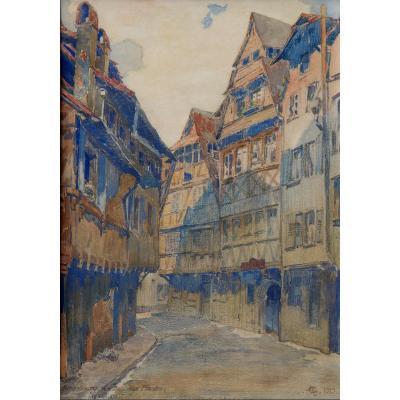 """ECOLE FRANCAISE 1919 : AQUARELLE  """"RUE DU BAIN AUX PLANTES A STRASBOURG"""""""