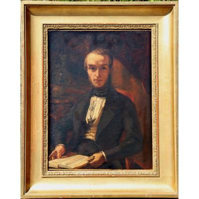 """ECOLE FRANCAISE VERS 1830 : """"HOMME AU GANT"""""""