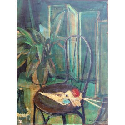 "V. DUHU HANNOUCH : ""NATURE MORTE A LA CHAISE 1951"""