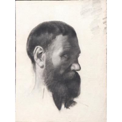 """ECOLE FRANCAISE VERS 1880 : """"PROFIL DE BARBU"""""""