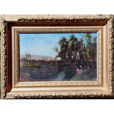 """French School Circa 1850/70 : """"landscape With Lavanders"""""""