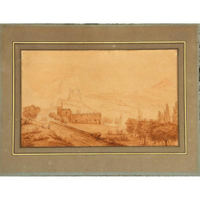 """French School Circa 1820/40 : Large Drawing """"landscape Of Italy Anime"""""""