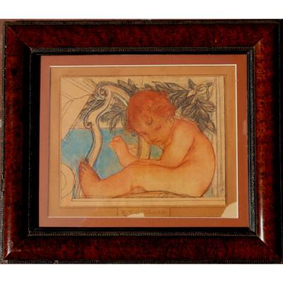 """Pierre-victor Galland : """"putto Playing Harp"""""""