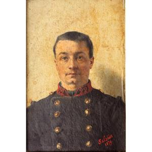 """SalaÜn : """"portrait Of A Young Military 1879"""""""
