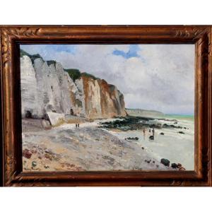 "Fernand Andrey-prevost : ""dieppe, The Cliffs And Black Rocks"""