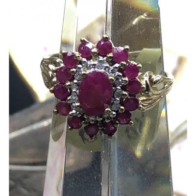 Bague En Or 9 Ct Avec Rubis Et Diamants