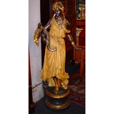 """Sculpture """" Desse De La Fortune"""" En Bois doré vers 1960"""