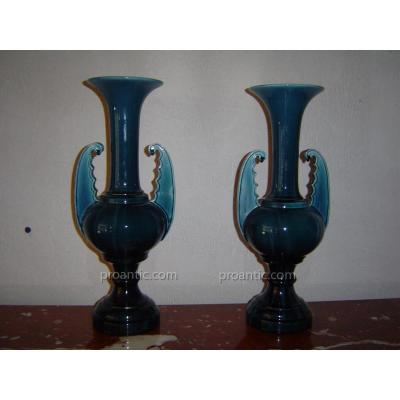 Paire De Vases Vallauris ( Jérome Massier )