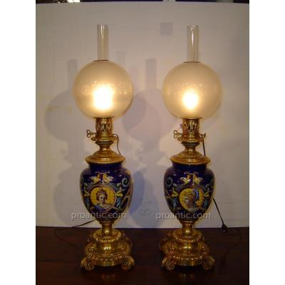 Paire De Lampes à Pétrole Electrifiées Nap III