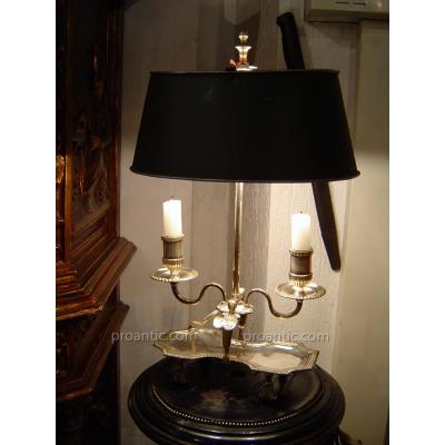 Lampe Bouillotte XIX En Metal Argenté