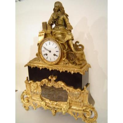 Pendule En Bronze Et Marbre Noir Napoleon III