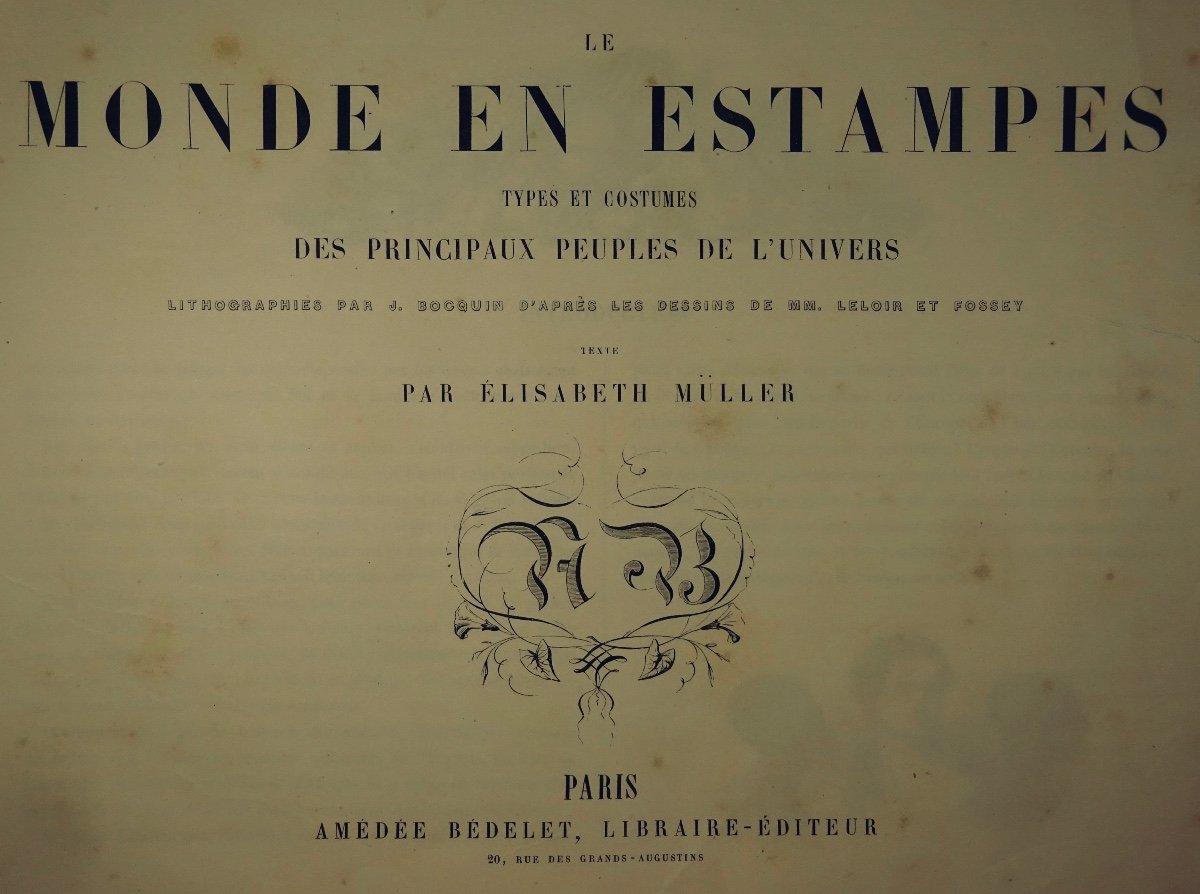 Muller - Le Monde En Estampe. 24 Lithographies En Couleurs De Bocquin. Vers 1860.-photo-3