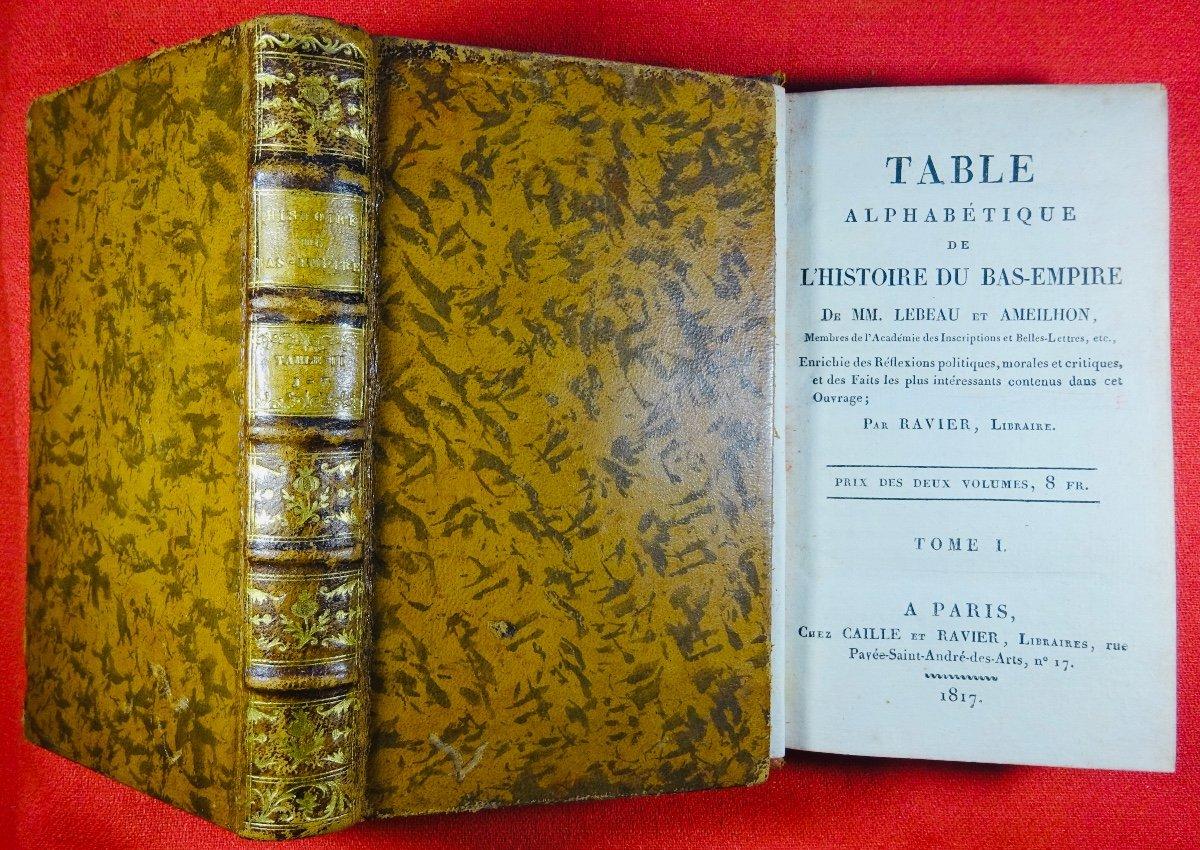 Ravier - Table Alphabétique De l'Histoire Du Bas-empire. 1817.