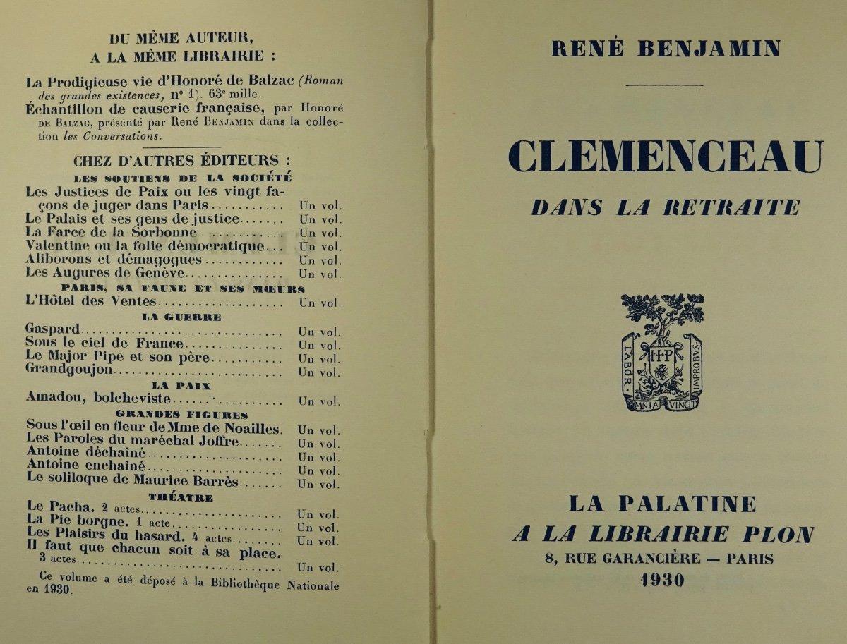BENJAMIN - Clémenceau dans la retraite. La Palatine, 1930. Édition originale.-photo-3
