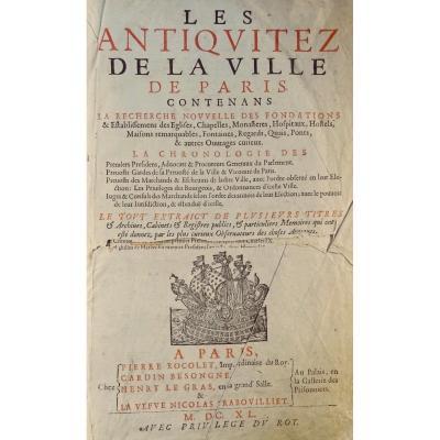 Livre Du 17ème Siècle Sur l'Histoire De Paris