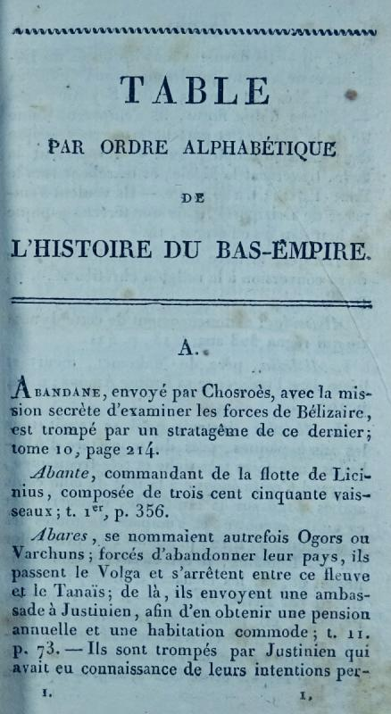 Ravier - Table Alphabétique De l'Histoire Du Bas-empire. 1817.-photo-2