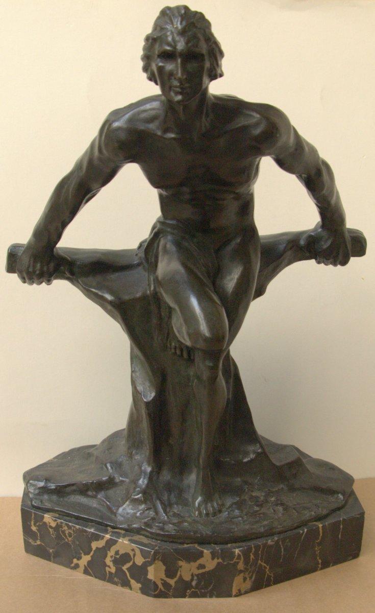Sculpture en Bronze à patine verte