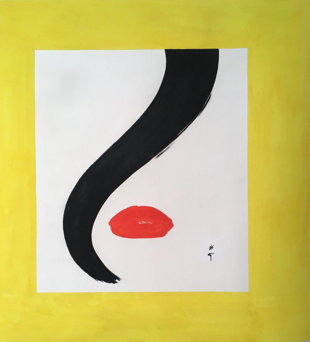 Gouache Signed Bottom Right, 1989, 83.5 X 83.5 Cm, Canvas.