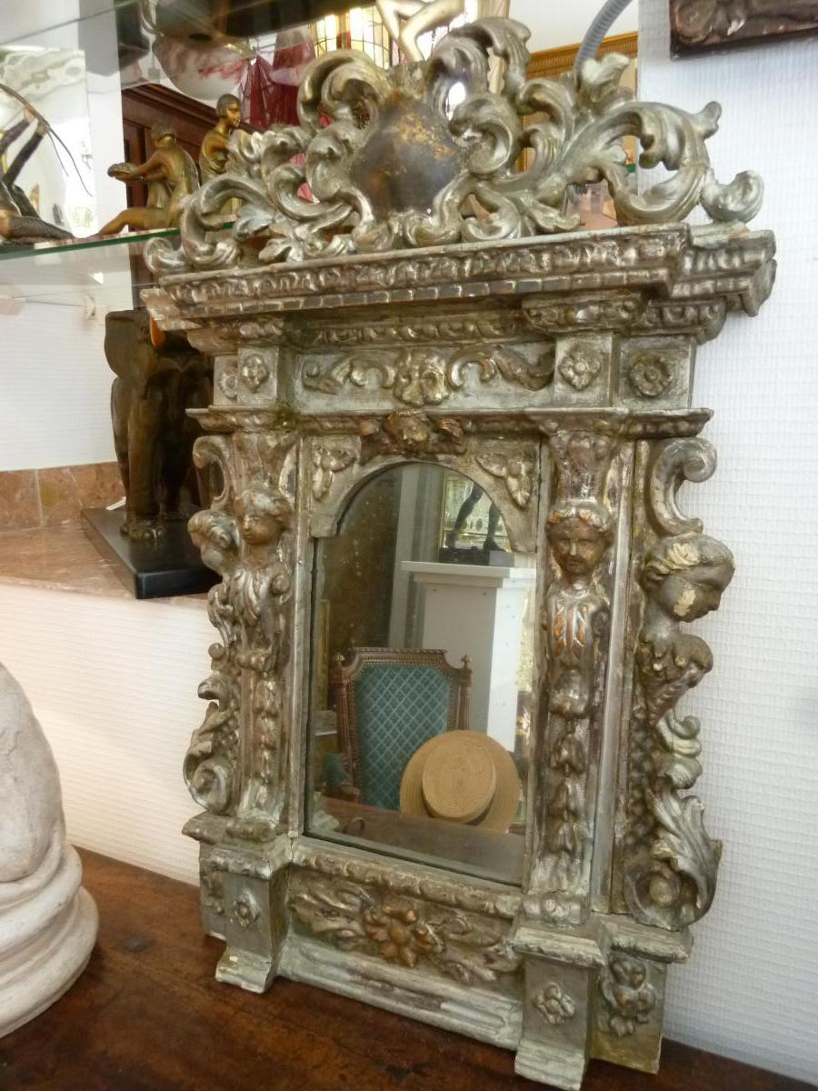 miroir baroque italien en bois argent miroirs. Black Bedroom Furniture Sets. Home Design Ideas
