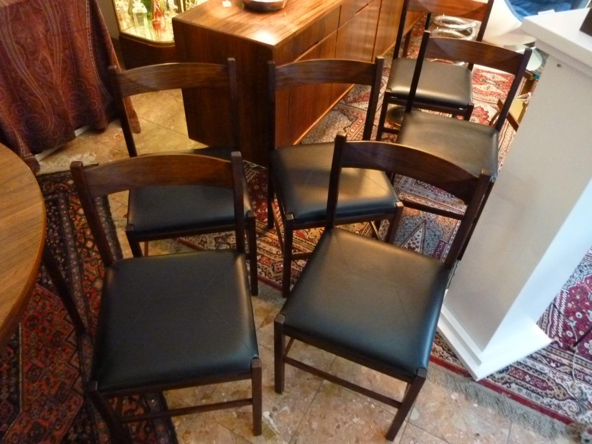 6 chaises scandinaves en palissandre de rio chaises tabourets. Black Bedroom Furniture Sets. Home Design Ideas