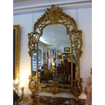 Miroir à Parcloses en Bois Doré à La Feuille
