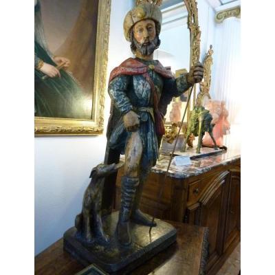 Statue Polychrome De Saint Roch Fin 17ème Siecle