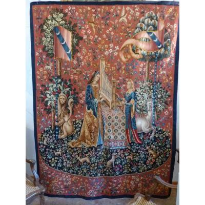 Tapisserie d'Aubusson XIXème Dame à la Licorne