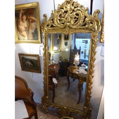 Miroir En Bois Doré à La Feuille Epoque Louis XV - XVIIIème Siècle