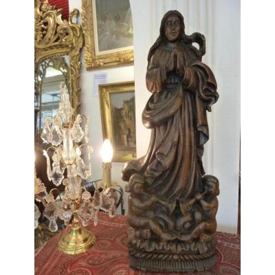 Statue Vierge En Bois Sculpté  XVIIIème Siècle