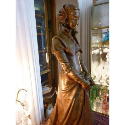 Sculpture Bronze Jeune Femme MARGUERITE Signe Eugene Aizelin