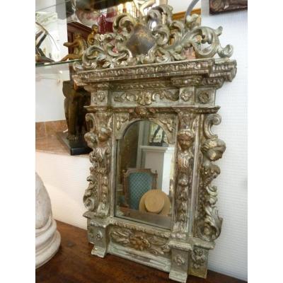 Miroir Baroque Italien en bois argenté