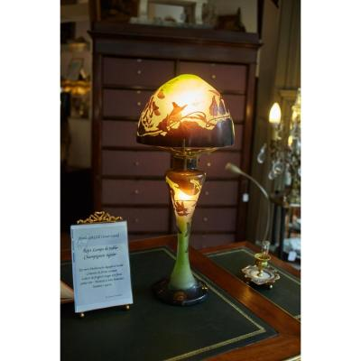 Emile Gallé Table Lamp Mushroom In Glass Paste