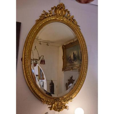 Large Oval Mirror 19th Louis XVI Style