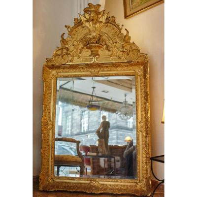 Mirror Wood And Stucco Gilded Leaf Style 19th Century