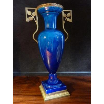 Paul Millet Vase En Porcelaine De Sèvres Monture Bronze