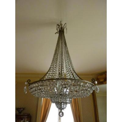 Crystal And Bronze Basket Chandelier