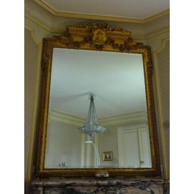 Large Mirror Wood And Stucco Gilded Leaf Louis XVI Style 19th Century