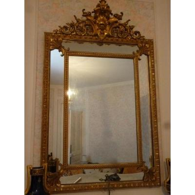 Mirror With Beading Style Louis XV Epoque XIX