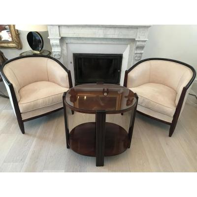 Pair Of Armchairs And Pedestal Rosewood Art Deco 1930