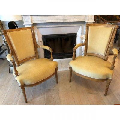 Pair Of Louis XVI Beech Armchairs From The Directoire Period End Of The 18th Century