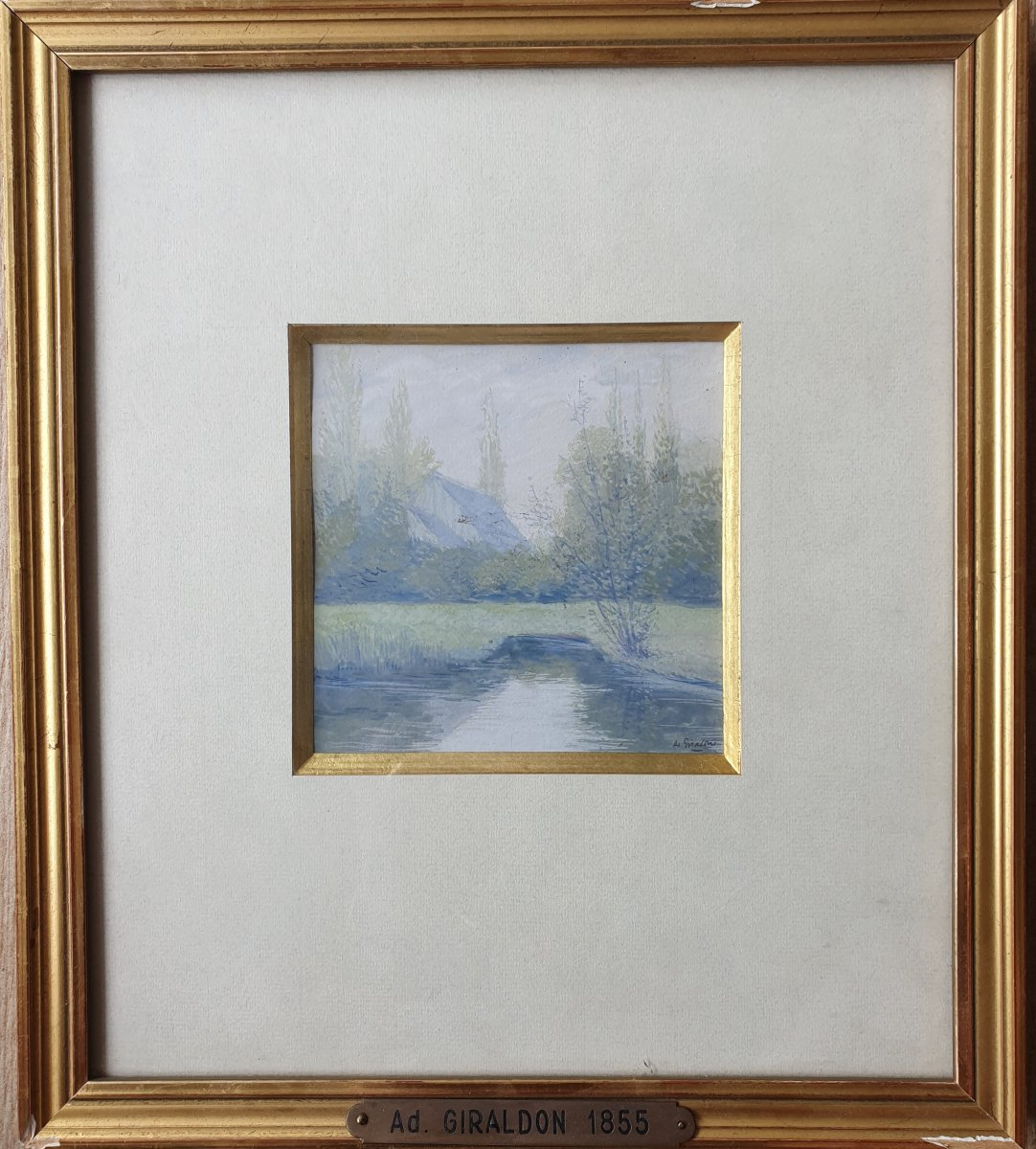 Adolphe Giraldon 1855 - 1933 Aquarelle Briquemault 1922