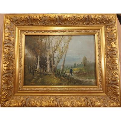 Chérubino PATA ( 1827 - 1899 ) collaborateur Gustave Courbet huile sur panneau Départ Ballade
